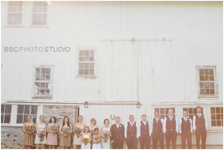 Creative CT farm barn wedding bridal party pictures