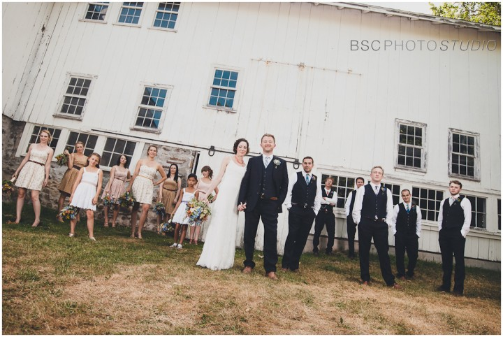 vintage bridal party farm wedding photography