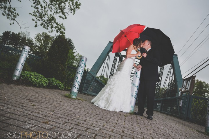Creative modern Connecticut wedding photographer red umbrella