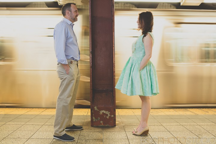 New York Subway engagement photography creative NYC photographer