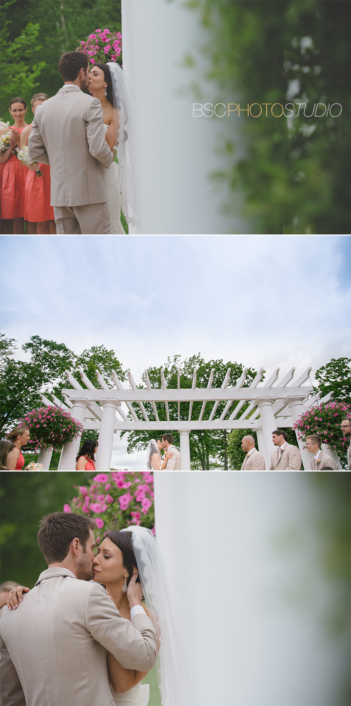 beautiful wedding ceremony kiss Connecticut photographer