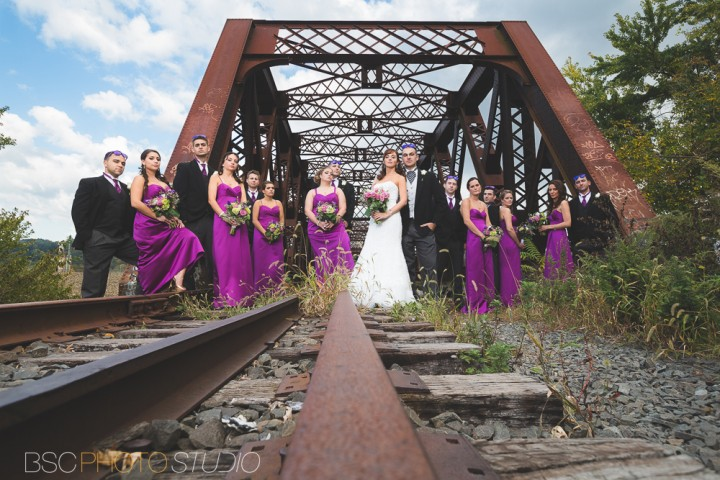 Modern CT documentary wedding photos at the Shelton Old Train Track Bridge bridal party portrait