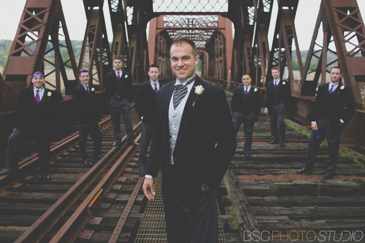 Modern CT documentary wedding photos at the Shelton Old Train Track Bridge groomsmen portrait