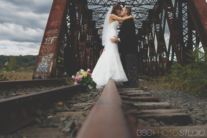 Modern CT documentary wedding photos at the Shelton Old Train Track Bridge
