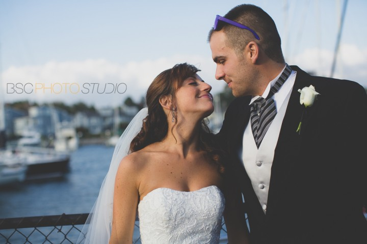 Modern romantic beautiful sunset wedding photo at Milford Yacht Club CT