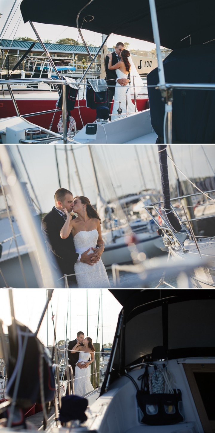 Romantic beautiful CT documentary sail boat wedding photo at Milford Yacht Club