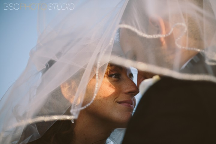 Milford Yacht Club CT bride and groom wedding photography veil