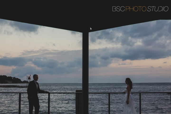 Modern bride and groom silhouette wedding photo