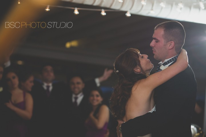 Romantic first dance wedding reception photos at Milford Yacht Club in Connecticut