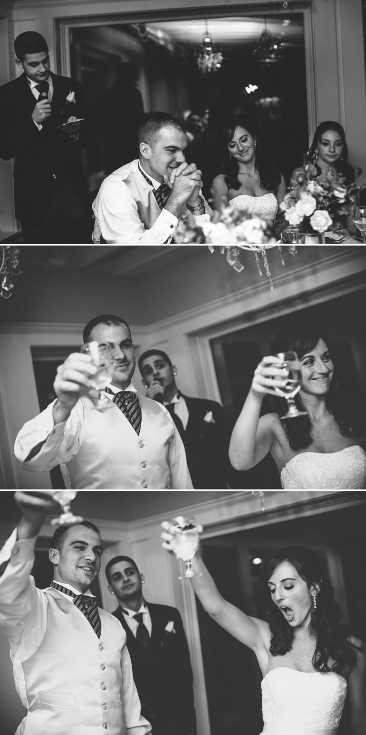 best man and maid of honor toasts at Milford CT Yacht Club wedding reception