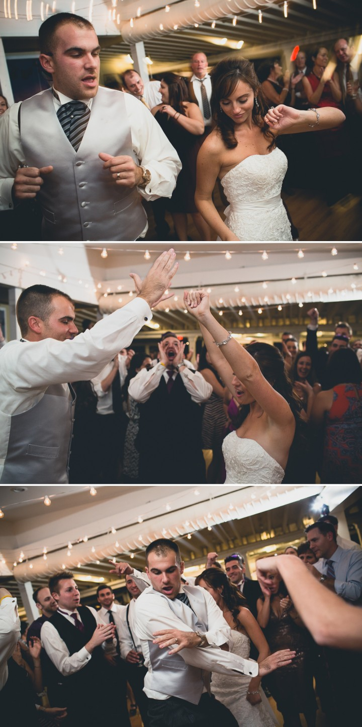 Fun bride and groom wedding reception photos at Milford Yacht Club in Connecticut