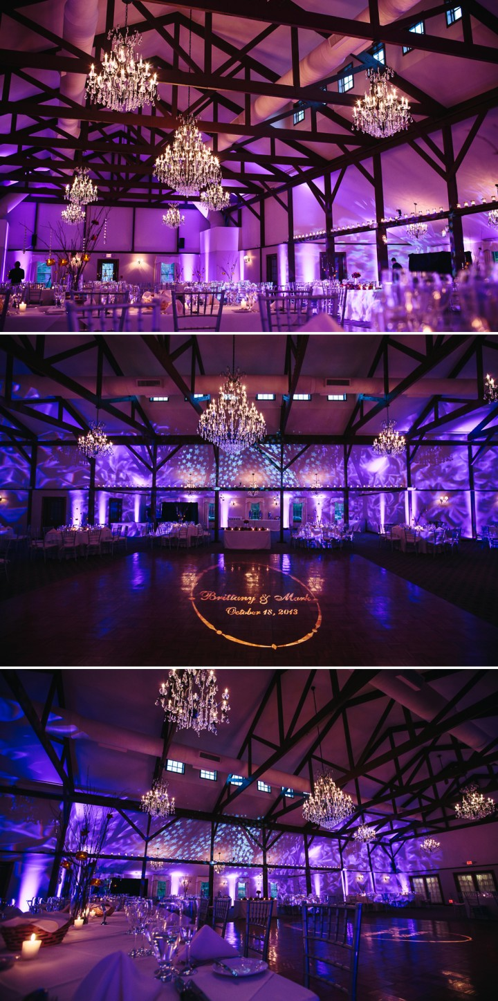 beautiful wedding reception lighting at Farmington Gardens by Audio Media Solutions